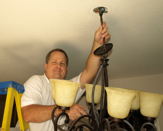 Lighting Newbury Park Electrical Contractor Installing Chandelier